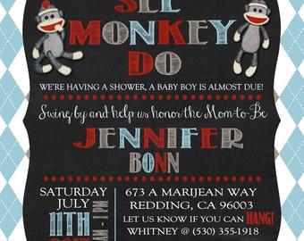 Sock Monkey Customized baby shower invitations & thank you cards- Chevron
