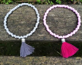 Handmade beaded bracelet with mini tassel