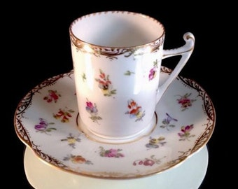 DRESDEN Hand Painted Cup And Saucer Delicate Flowers With Gold Trim