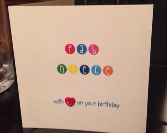 Fab NIECE birthday card