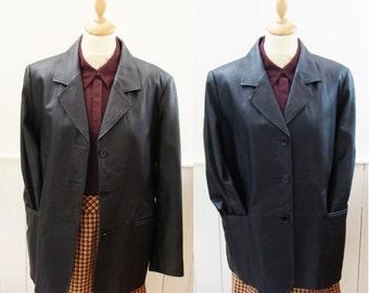 Ladies black oversize leather jacket vintage 90s 1990s Modern Classics