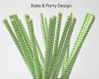 25 Piece Paper Straws Vintage Shamrock Green Chevron  Party Supplies  Baby Shower Birthday Party Wedding Bridal Shower