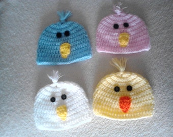 newborn chick hat,newborn bird hat,Crochet beanie hat,photo prop hat,newborn easter hat,baby hat,crochet baby hat