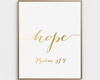 Gold Bible Verse, Scripture Print, Bible Verse Print, Psalm 39:7, Scripture Art, Bible Verse Art, Scripture Wall Art, Christian Quotes, Art