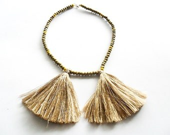 necklace Boho style - Gold / handmade