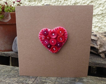 Handcrafted Heart and Buttons Brooch & Greetings Card