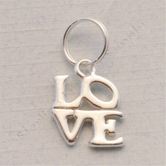 sterling silver charm with split ring by