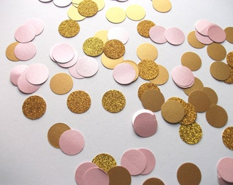 pink and gold glitter large circle confetti - hand made confetti! Table decoration, wedding & party!