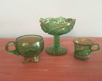 Set of 3 Colorado Glass Green Gold Etched Souvenir Mug-Compote vase and a Cup Mug