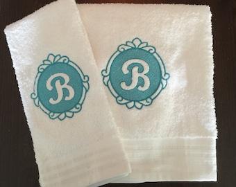 Embossed monogram towels