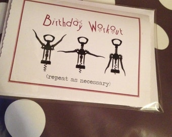 Fun Wine-Workout Birthday Card for the Wine Lover or Fitness Fanatic!