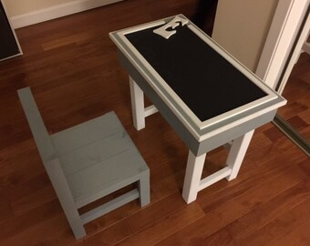 Children's Desk with Storage and Chalkboard Top