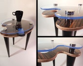 OOAK Moka Zebra and Stainless Steel Accent Side End Table - Artist Palette - Blue Acrylic