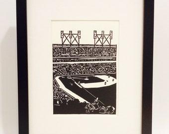 """Baseball Game handmade linocut print 5x7"""" - unframed (soft white).  baseball art, sports art, home decor, birthday gift, printmaking"""