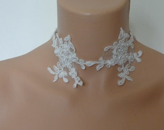 ivory lace collar set with pearls wedding