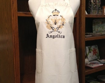 Stunning Personalized Ebroidered Queen Bee Ruffled Apron
