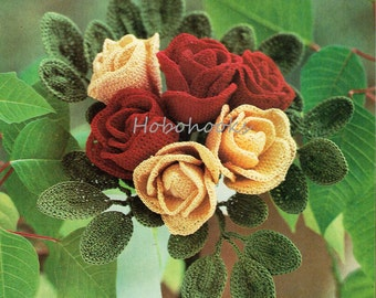 CROCHET wired flowers - roses and sweet peas - Crochet pattern - PDF instant download