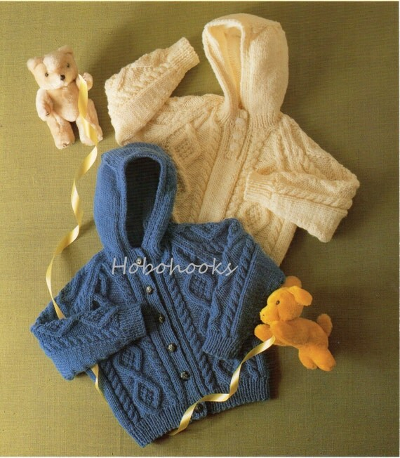 Baby Knitting Pattern Childrens Knitting Pattern Aran Hooded