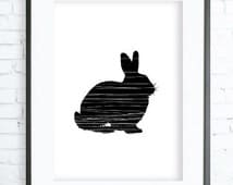 Instant Download Printable, Rabbit Print Art,  modern art, digital art, Print,Black and White, Rabbit art, Rabbit print