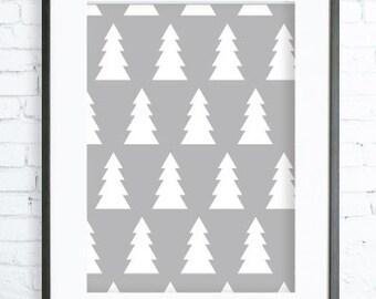 Christmas Decorations, Instant Download Printable, Christmas Printable art, Print Art, modern art, Digital art print, tree art, tree print