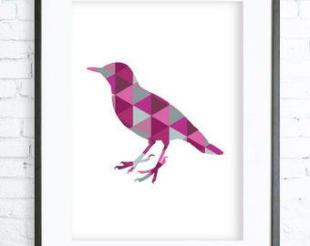 Instant Download Printable, Pink Bird Print, Bird Wall Art, Pink Print, Pink Bird, Geometric Bird, Geometric Animal Wall Art, Wall Print
