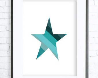 Instant Download Printable, Geometric Print Art,Turquoise Star Print, Geometric art, Wall art, Geometric wall art, Geometric Turquoise Print