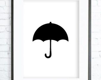 Black Umbrella Silhouette, Black Umbrella Print, Black Art Print Silhouette, digital art, Umbrella Wall Art