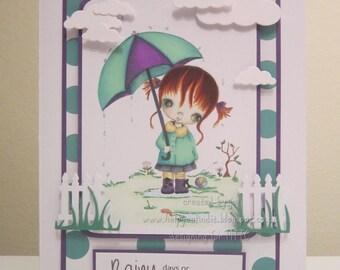 OOAK Ppinkydolls - Rainy Days Handmade Card