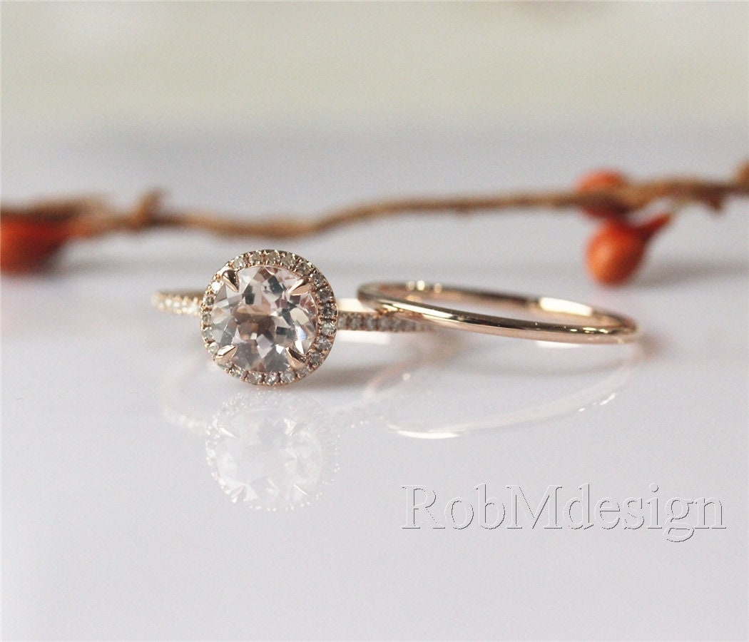 Morganite Engagement Ring Set 7mm VS Round Cut By RobMdesign