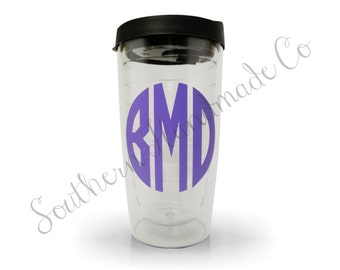 Personalized Tumbler Acrylic Sipping Cup with Monogram - BPA Free - 16oz - Insulated