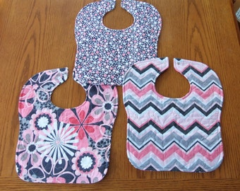 Quilted Baby Bibs - set of 3