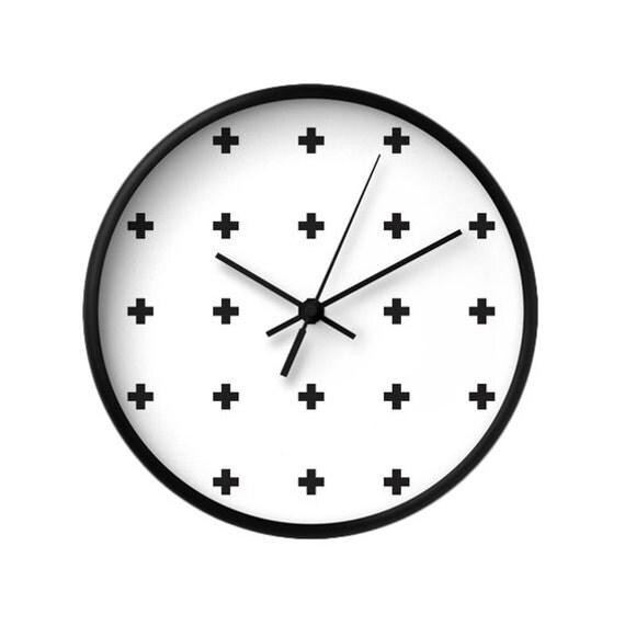 Swiss Cross Wall Clock Black And White Wall Clock Black Clock