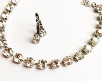 Swarovski crystal necklace silver shade