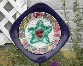 Purple Glass Garden Flower, Glass Garden Flower, Glass Art, Glass Garden Art