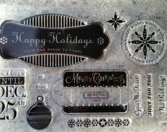 Holiday and Christmas Sentiments Stamp Set - Ships Free