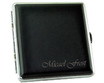 Personalized Black Cigarette Case  / Custom Engraved Name