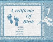 Personalized Baby Blanket - Certificate of Birth Blue