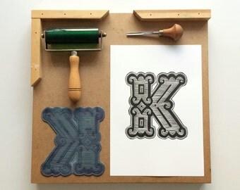 A4 Industrial Alphabet Linocut Print: Letter K