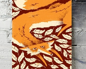 "Fox in the Henhouse art print - 18"" x 24"" screenprinted poster"