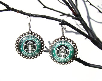 Starbucks Silver Dangle Earrings FREE SHIPPING