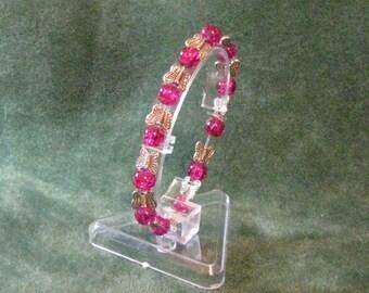 Hot pink butterfly bracelet