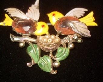 1920's Enamel Birds with Nest Pin