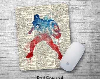 Captain America, Avengers, Superhero Mouse Pad, Office Decor, Dictionary Mouse Pad, Personalized Soft Fabric Rubber Backing Mouse Pad- PGM04