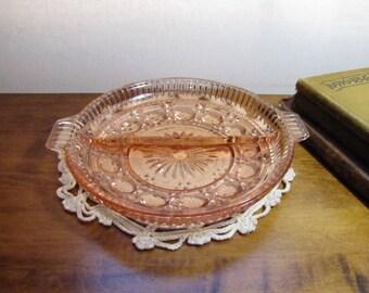 Vintage Pink Pressed Glass Divided Dish