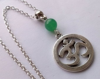 Ohm Necklace , Om Necklace , Silver Yoga Necklace ,Long Necklace , Jade Necklace , Yoga Jewellery , Spiritual , New Age , Handmade Jewelry