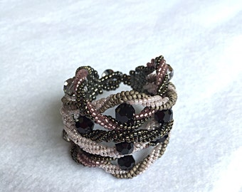 Multistrand bracelet with Swarovski crystals.