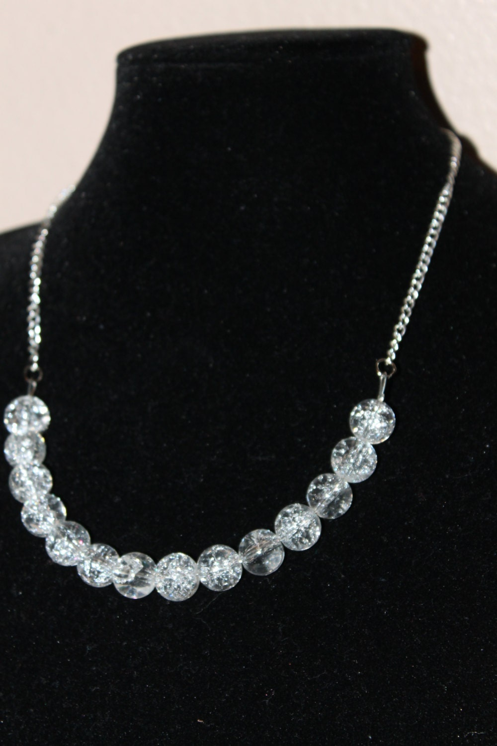 clear bead and chain necklace