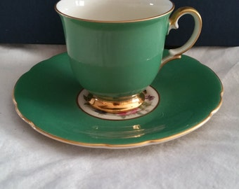 Vintage Imperial Bohemian Bone China made in Czechoslovakia Demitasse Cup and Saucer Set 22K Gold Trim 1950's