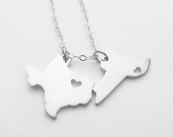 Two States Love Necklace,Silver Two States Necklace,Best Friendship State Necklace,Small TWO States Pendants on a Necklace.