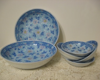 Asian Style Serving Bowls, Group of 2 Small Serving Bowls,+ 4 Soy Sauce, Dipping, Condiment Bowls, Japan, White China, Blue Design, Flowers
